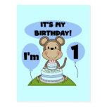 Muchacho 1r del cumpleaños del mono postales