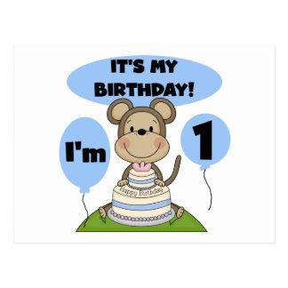 Muchacho 1r del cumpleaños del mono postal