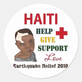 Muchacho 2010 del alivio del terremoto de Haití Pegatina Redonda