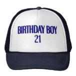 Muchacho 21 del cumpleaños gorros bordados