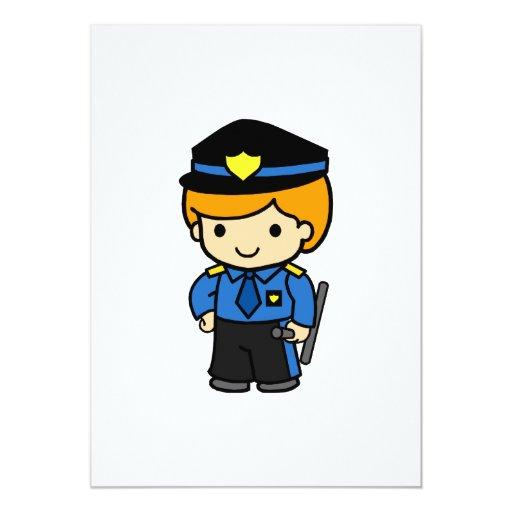 """Muchacho 2 de la policía invitación 5"""" x 7"""""""