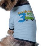 Muchacho 3 del camión del cumpleaños ropa de mascota