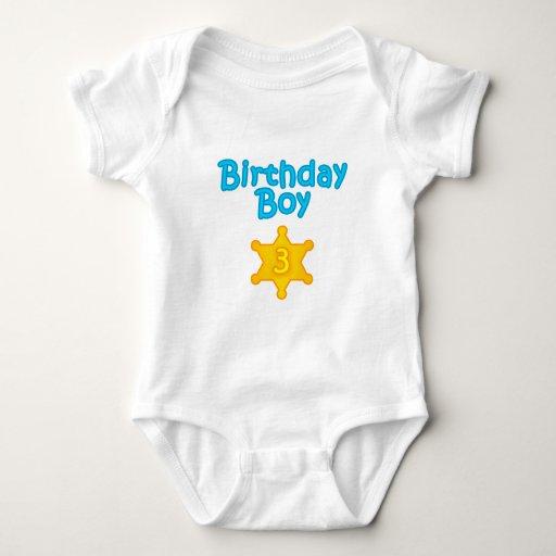 Muchacho 3 del cumpleaños del sheriff playera