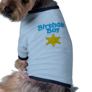 Muchacho 4 del cumpleaños del sheriff camisas de perritos