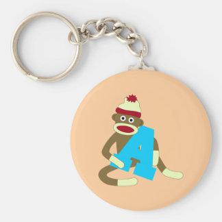 Muchacho A del monograma del mono del calcetín Llavero Personalizado