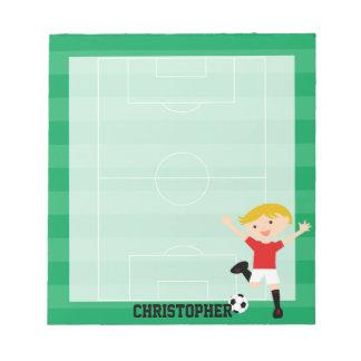 Muchacho adaptable 1 del fútbol rojo y blanco bloc de papel