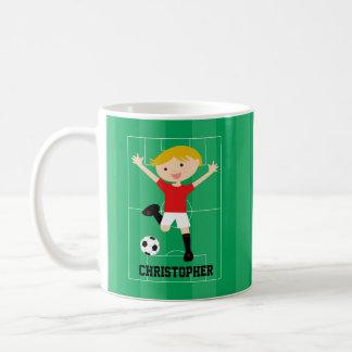 Muchacho adaptable 1 del fútbol rojo y blanco taza clásica
