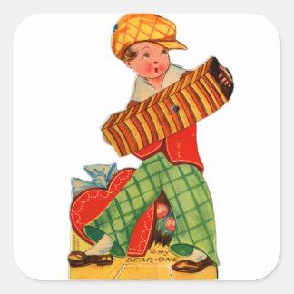 Muchacho alemán del acordeón de la tarjeta del día pegatina cuadrada