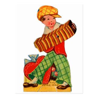 Muchacho alemán del acordeón de la tarjeta del día tarjeta postal