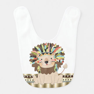 Muchacho animal tribal del león babero de bebé