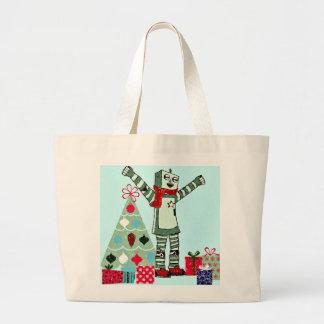 Muchacho, árbol, y regalos en colores pastel del bolsa tela grande