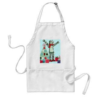 Muchacho, árbol, y regalos en colores pastel del delantal