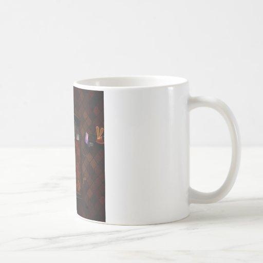 Muchacho asustadizo fresco abstracto de la hora de tazas de café