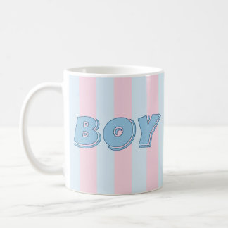 Muchacho azul con las rayas rosadas taza clásica