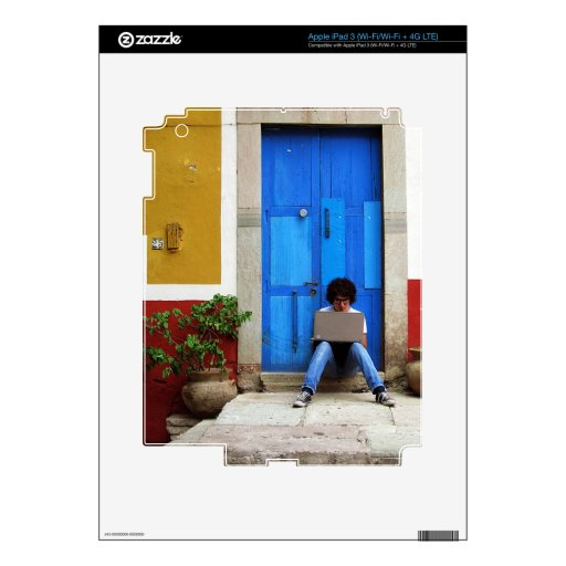 Muchacho azul de la puerta iPad 3 skins
