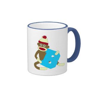 Muchacho B del monograma del mono del calcetín Tazas De Café