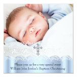 Muchacho blanco azul de la cruz de la joya de la invitación