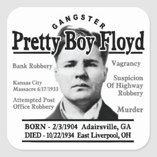 Muchacho bonito Floyd del gángster Pegatina Cuadrada