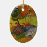 Muchacho bretón de Paul Gauguin- en un paisaje con Ornamentos Para Reyes Magos