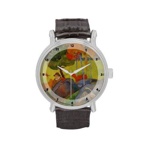 Muchacho bretón de Paul Gauguin- en un paisaje con Relojes De Mano