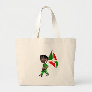 Muchacho burundés bolsas lienzo