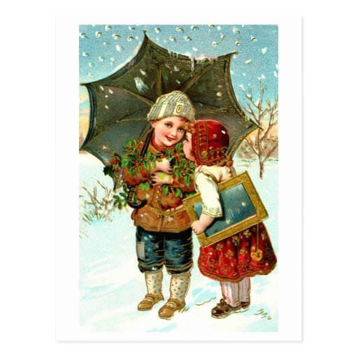 Muchacho, chica y paraguas tarjeta postal