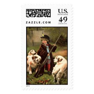 Muchacho con 3 perros sellos