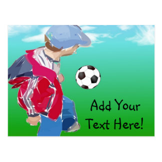 Muchacho con fútbol postal