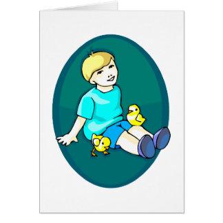 Muchacho con la aguamarina design.png oval de los tarjeta pequeña