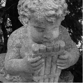 Muchacho con la flauta de la cacerola esculturas fotográficas