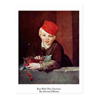 Muchacho con las cerezas de Eduardo Manet Tarjeta Postal