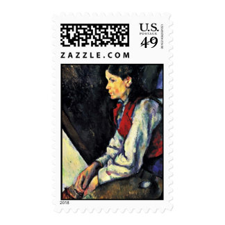 Muchacho con un chaleco rojo de Paul Cézanne Franqueo