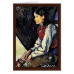 Muchacho con un chaleco rojo de Paul Cézanne Felicitación