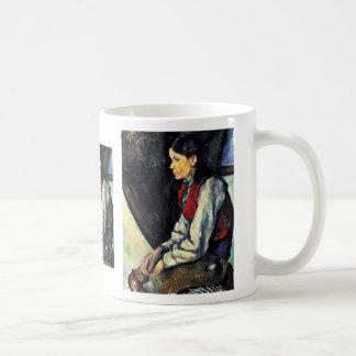 Muchacho con un chaleco rojo de Paul Cézanne Taza