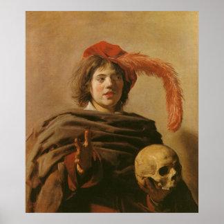 Muchacho con un cráneo póster