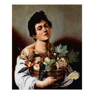 Muchacho con una cesta de fruta, Caravaggio Póster