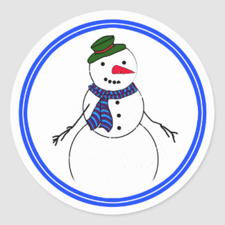 Muchacho coqueto del muñeco de nieve del dibujo an pegatinas redondas