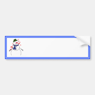 Muchacho coqueto del muñeco de nieve del dibujo etiqueta de parachoque