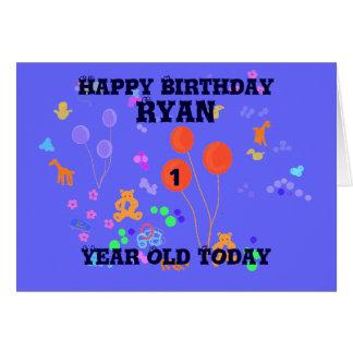 Muchacho de 1 año del feliz cumpleaños tarjeta de felicitación