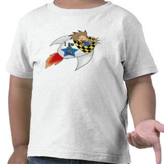 muchacho de 3 años en un cohete camiseta