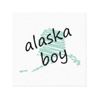 Muchacho de Alaska en el dibujo del mapa de Alaska Impresion En Lona