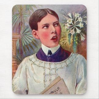 Muchacho de altar católico del kitsch retro del vi tapete de raton