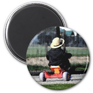 Muchacho de Amish en Triciclo-Acuarela Imán De Nevera