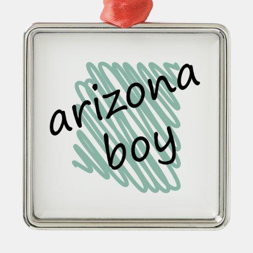 Muchacho de Arizona en el dibujo del mapa de Adorno Navideño Cuadrado De Metal