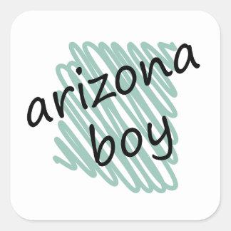 Muchacho de Arizona en el dibujo del mapa de Pegatina Cuadrada