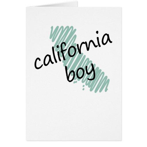 Muchacho de California en el dibujo del mapa de Ca Felicitación
