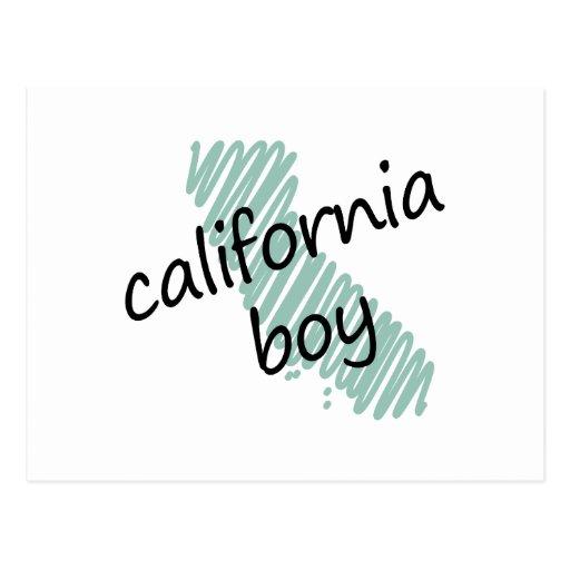 Muchacho de California en el dibujo del mapa de Ca Postales