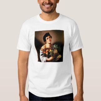 Muchacho de Caravaggio con una cesta de camiseta Poleras