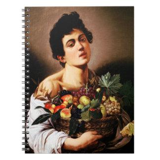 Muchacho de Caravaggio con una cesta de cuaderno d