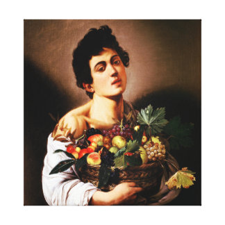 Muchacho de Caravaggio con una cesta de fruta Impresión En Lona Estirada